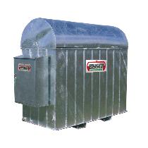 Verzinkte Auffangwanne für 1500 l-Treib-/Brennstofftank aus PEHD mit Schrank