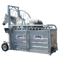 Wiegekäfig und Behandlungsstand für Pferde