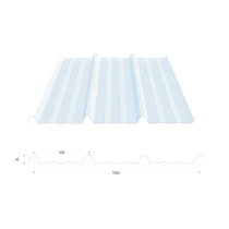 Trapezblech 45-333-1000, durchsichtiges Polycarbonat, 9 m