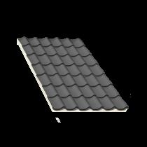 Isoliertes Anthrazitgrau Ziegelblechelement, Stärke 80 mm, 6 m