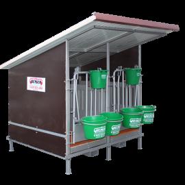 Kälberbox mit isoliertem Dach 2 Plätze mit PVC-Wänden