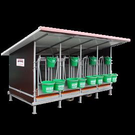 Kälberbox mit isoliertem Dach 4 Plätze mit PVC-Wänden