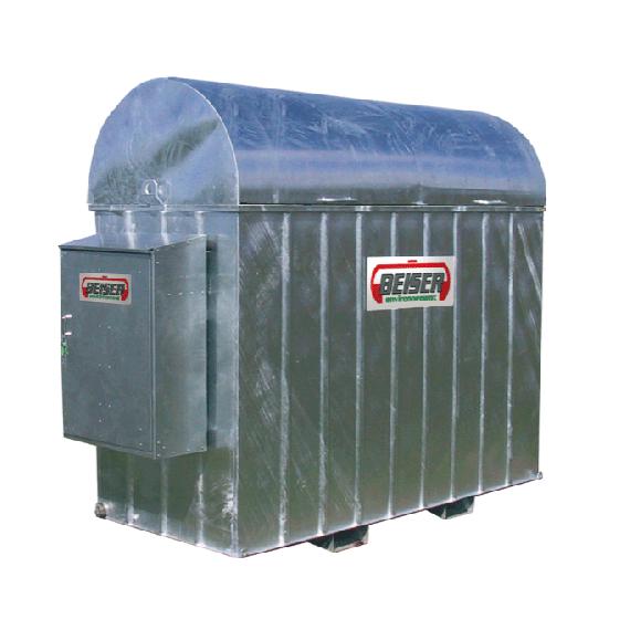 Verzinkte Auffangwanne für 2000 l-Treib-/Brennstofftank aus PEHD mit Schrank