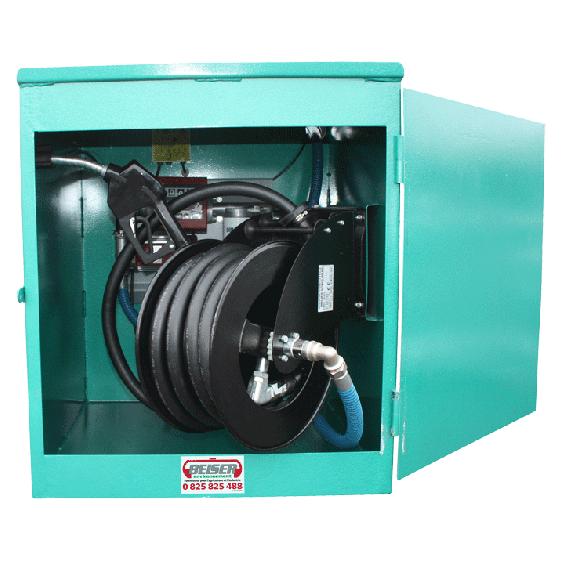 Schrank für Doppelwandigen Stahltank NN2G mit Pumpe 60L/min und Aufrollvorrichtung