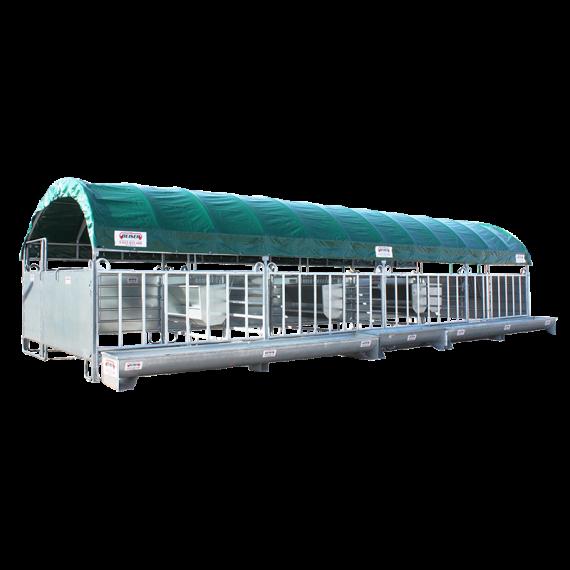 Mobiler Unterstand 12 x 4 m für entwöhnte Kälber