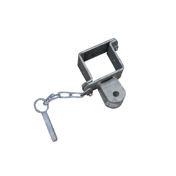 Pfostenschelle mit einer Einhängelasche für Kälber-Selbstfangfressgitter