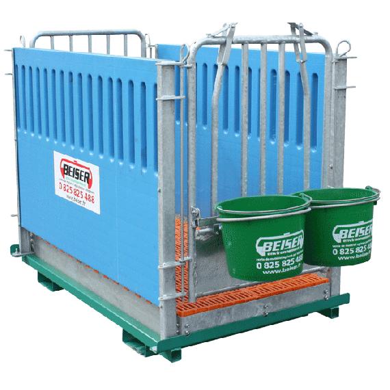 Kälberbox 2 Plätze auf Rahmen für Palettengabel (Wände und Gitterrost aus Kunststoff)
