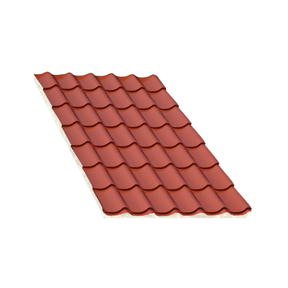 Isoliertes Terrakotta Ziegelblechelement, Stärke 80 mm, 5,5 m