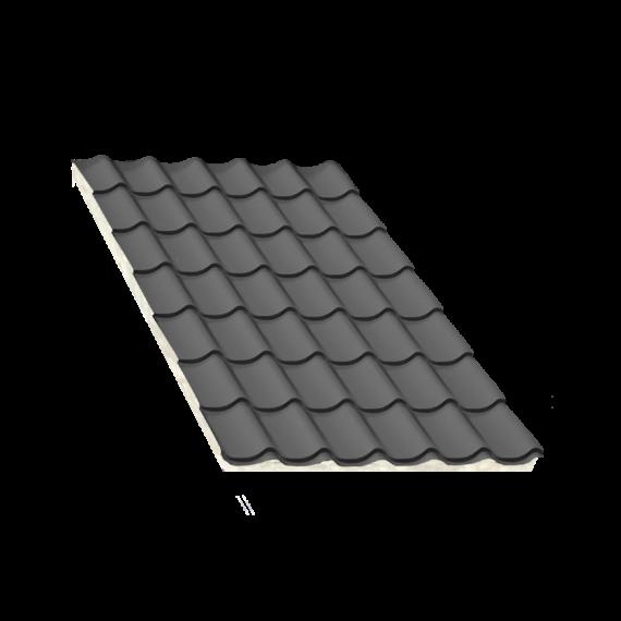 Isoliertes Anthrazitgrau Ziegelblechelement, Stärke 80 mm, 8 m