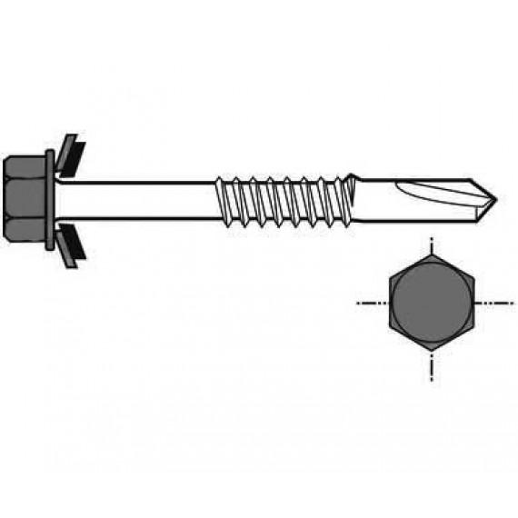 Lange Selbstbohrschraube für Metallstruktur, 6,3x125, Reseda-Grün RAL6011, 100 Stück