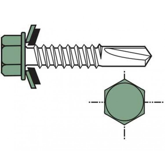 Selbstbohrschraube für Holzwand, kurze 6,5x35, Reseda-Grün RAL6011, 100 Stück