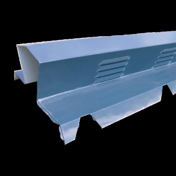 Gerippte Firsthaube gelüftet Schieferblau RAL5008
