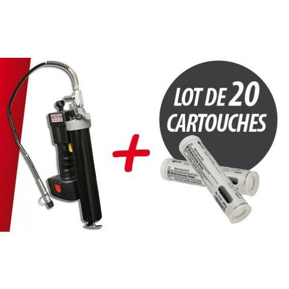 Elektrische Schmierpumpe 18V 127g/min mit einem Satz von Fettkartuschen 400 g (in Losen zu je 20 Stück)
