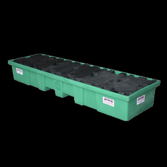 Längliche PEHD-Auffangwanne für 4 Fässer – 208 Liter