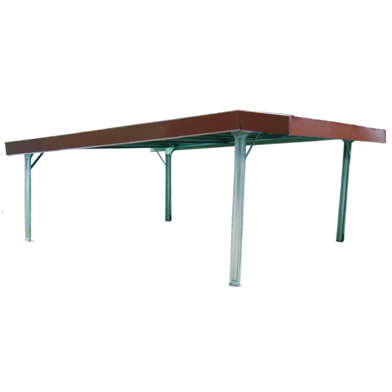 Einfacher Unterstand im Bausatz 6 x 6 m, mit Vordach