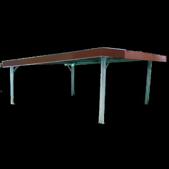 Einfacher Unterstand im Bausatz 9 x 6 m, mit Vordach