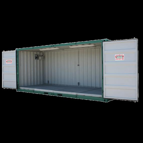 Lagercontainer für Pflanzenschutzmittel mit Seitenöffnung über die ganze Länge