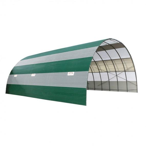 Lagertunnel aus Wellblech Mit Antitropfkondensation kombiniert mit durchsichtigen Platten 3,90m Hoch 10m Länger