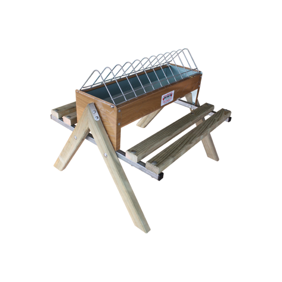 Holz-Futtertrog mit Gestell 60 cm