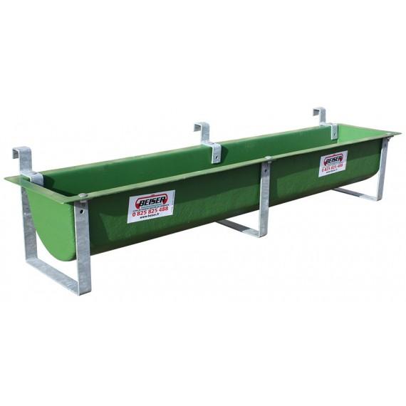 Polyestertrog grün mit 3 verzinkten Schraubhalterungen