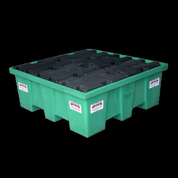 Quadratische PEHD-Auffangwanne für 4 Fässer – 208 Liter