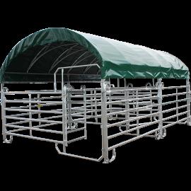 Overdekte mobiele kooi met Texas-hekken 6 m x 4 m en dak van zeildoek