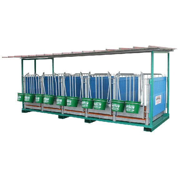 Kalverbox 5 individuele vakken op frame voor verreiker (roostervloer en wanden in polypropyleen)