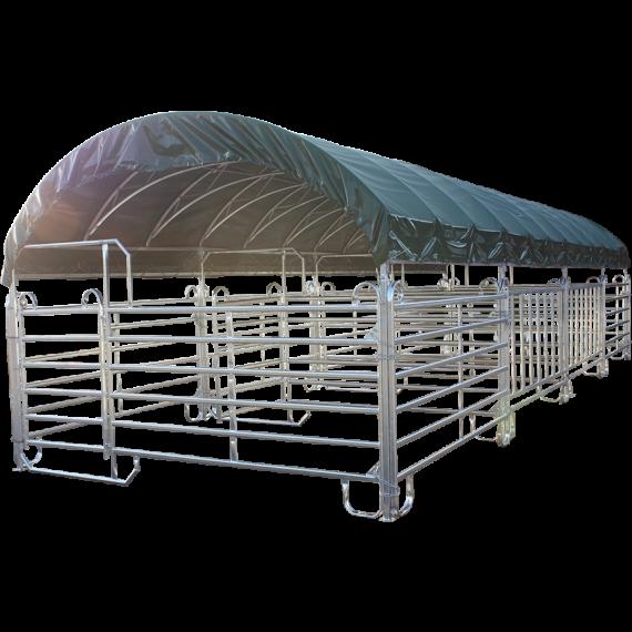 Overdekte mobiele kooi met Texas-hekken 4 m x 12 m en dak van zeildoek