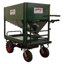 Chariot motorisé distributeur avec trémie et trappe galva
