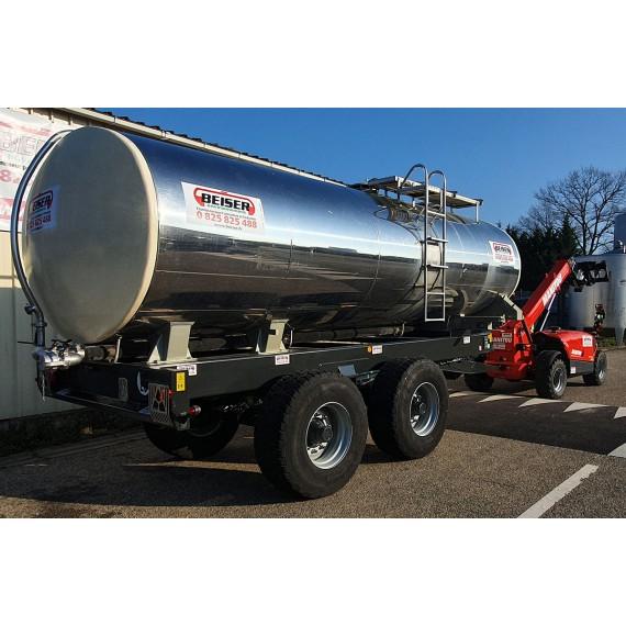 Citerne inox 15 000 litres sur châssis agraire